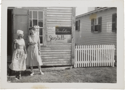 Figure 29. Jan Gelb (left) and Minna Citron (right), standing outside Artist's Studio, Old Boathouse, 636 Commercial Street, Provincetown, MA, 1954 Jan Gelb and Minna Citron, 1954 / unidentified photographer. Jan Gelb and Boris Margo papers, Archives of American Art, Smithsonian Institution.