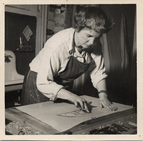 Figure 8. Worden Day in her studio, ca. 1959 / unidentified photographer. Worden Day papers, Archives of American Art, Smithsonian Institution.